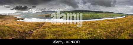 A still morning on the bog beside Lough Nacung, County Donegal, Ireland - Stock Image