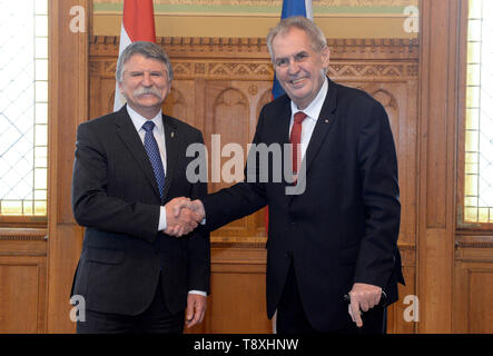 Budapest, Hungary. 15th May, 2019. Czech President Milos Zeman (right) meets Hungarian parliament chairman Laszlo Kover, who is also a member of Orban's Fidesz party in Budapest, Hungarian, May 15, 2019. Credit: Katerina Sulova/CTK Photo/Alamy Live News - Stock Image
