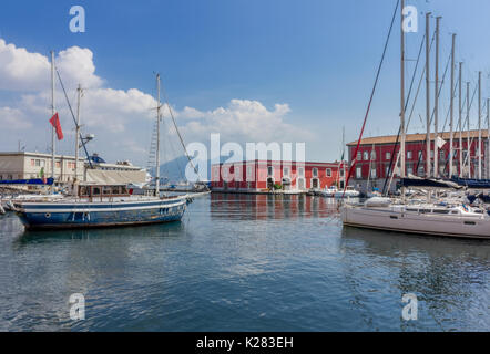 Customs boats of the Guardia Finanza in the harbor of Naples, Campania, Italy - Stock Image