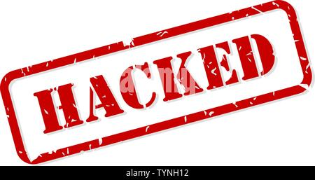 Hacked red rubber stamp vector isolated - Stock Image