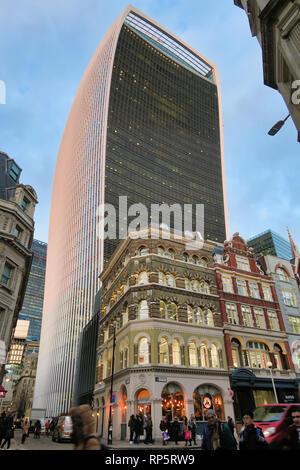 Walkie Talkie Building towering over Joe & the Juice, City of London, UK - Stock Image