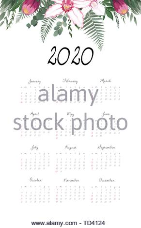 Calendar 2020 template.12 Months include holiday event - Stock Image