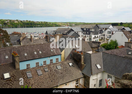A view of Kinsale harbour over the rooftops. - Stock Image