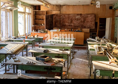 The Number 3 Middle School, Pripyat, Ukraine, inside the Chernobyl Exclusion Zone - Stock Image
