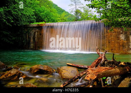 waterfall of the stream in the forest - Stock Image