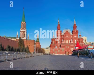 Nikolskaya tower of Moscow Kremlin and State History Museum, Red square, Moscow, Russia - Stock Image