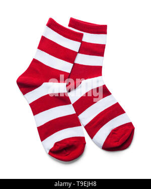 Two Red and White Striped Socks Isolated on White. - Stock Image