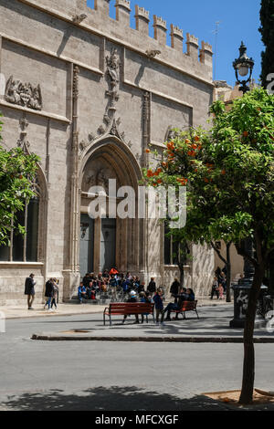 Front facade of La Lonja, a former gothic silk and commodities exchange building, now a World Heritage Site, North Ciutat Vella, Valencia, Spain - Stock Image