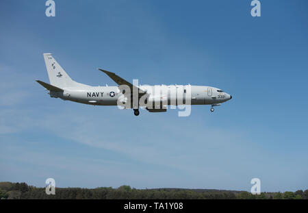 Americal P8 Posiden Maritime patrol Aiircraft on approach to its future home base at RAF Lossiemouth on the North East scottish coast - Stock Image