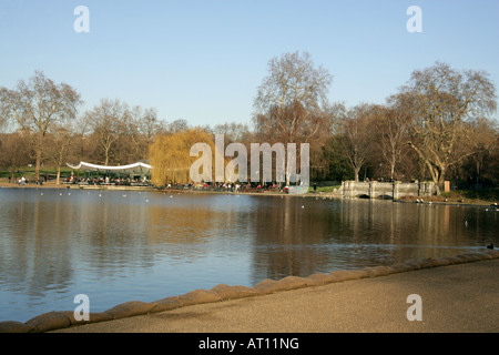 Foot Bridge and Cafe at the East End of the Serpentine Lake Hyde Park London - Stock Image