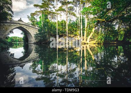 Bridge in palace garden Laxenburg near Vienna - Stock Image