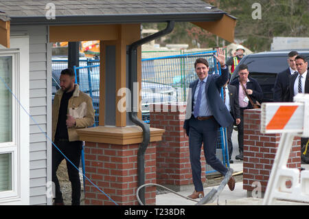 Canadian Prime Minister Justin Trudeau arriving in Maple Ridge to address the media about affordable housing. - Stock Image