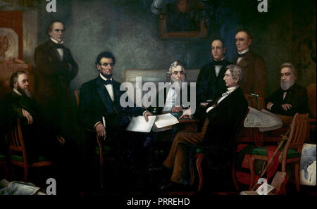 First Reading of the Emancipation Proclamation of President Lincoln by Francis Bicknell Carpenter (1864).  Shown from left to right are:  Edwin M. Stanton, secretary of war (seated); Salmon P. Chase, secretary of the treasury (standing); Abraham Lincoln; Gideon Welles, secretary of the navy (seated); Caleb Blood Smith, secretary of the interior (standing); William H. Seward, secretary of state (seated); Montgomery Blair, postmaster general (standing); Edward Bates, attorney general (seated). - Stock Image
