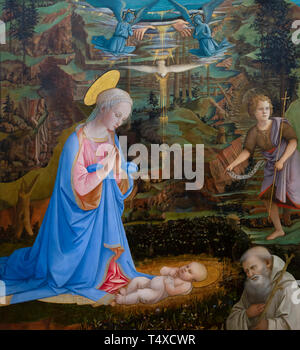 Adoration of the Christ Child with the Young St. John the Baptist, St. Romuald, Angels, the Hands of God the Father and the Holy Ghost as a Dove, Fili - Stock Image