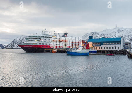 Hurtigruten Coastal Express cruise ship MS Nordnorge is berthed at Honningsvåg, Finnmark County, Norway. - Stock Image