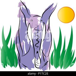 Elephant  illustration of standing colorful elephant leaf background. - Stock Image