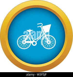 Bike with luggage icon blue vector isolated - Stock Image