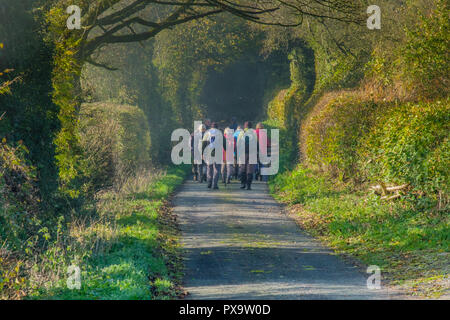 Walkers on Ragdon Lane, Church Stretton, Shropshire - Stock Image