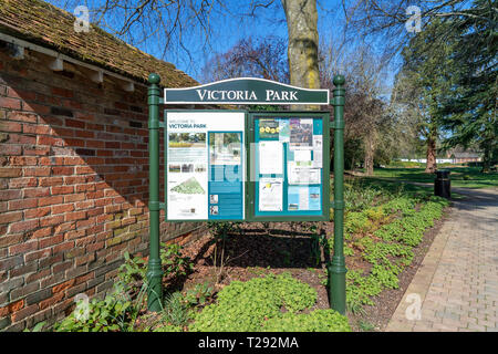 Notice board at the entrance to Victoria Park in Salisbury UK - Stock Image