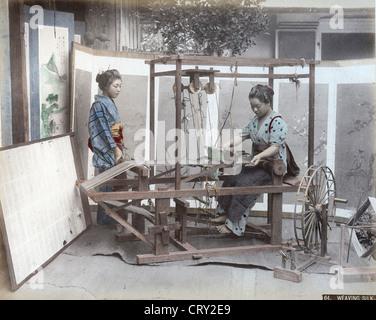 Weaving Silk, ca 1880, Kusakabe Kimbei - Stock Image