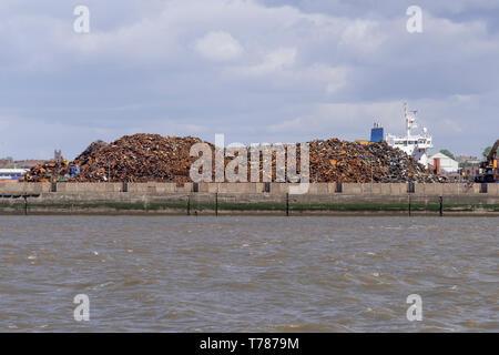 Liverpool.docks  Giant cranes. Scrap metal heap. - Stock Image