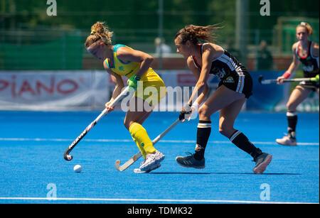 Krefeld, Germany, June 16 2019, hockey, women, FIH Pro League, Germany vs. Australia:  Ambrosia Malone (Australia, L) and Selin Oruz (Germany) compete - Stock Image