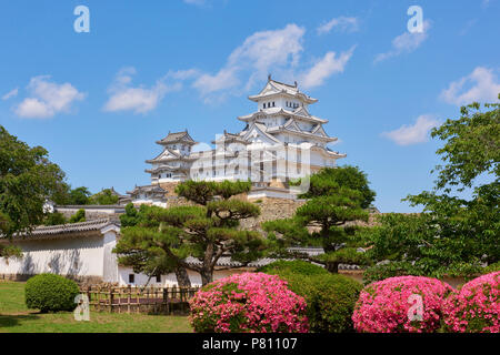 Beautiful shot of Hyogo Castle with azalea flowers in the foreground and blue sky with white clouds in the background. In Hyogo Prefecture, Japan. - Stock Image