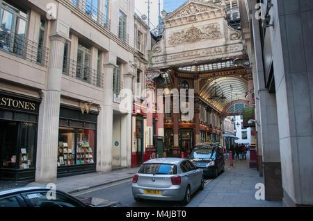 Entrace to the Leadenhall market, London, United Kingdom - Stock Image