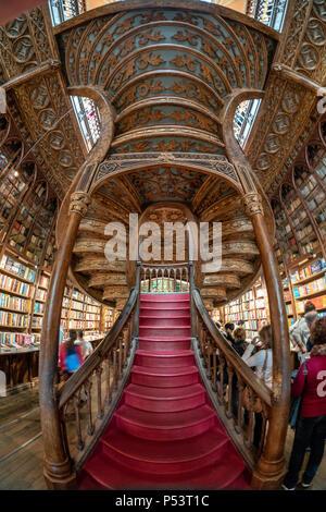 famous Lello Bookshop, interieur, stairs,  Porto Portugal - Stock Image