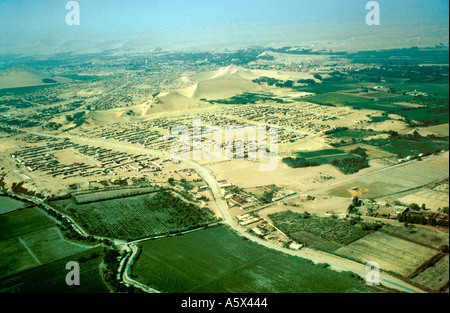 Aerial View of Desert Edge Near Nasca Peru - Stock Image