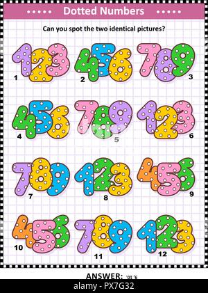 IQ and memory training visual puzzle for kids and adults with colorful dotted numbers: Can you spot the two identical pictures? Answer included. - Stock Image