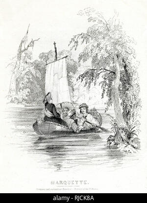Missionary Jacques Marquette, accompanied by three men, on a small sailboat being rowed down the river. - Stock Image