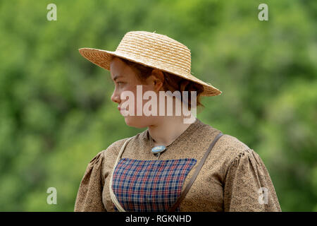 Duncan Mills, CA - July 14, 2018: Lady dressed in costume at a civil war re-enactement, looking sideways. The Civil War Days is one of the largest ree - Stock Image