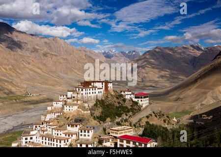 India, Himachal Pradesh, Spiti Valley, Key Monastery, hillside Buddhist gompa in early morning light - Stock Image