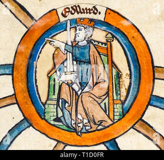 King Edward the Elder (c. 874 - 924), portrait painting in the early 14th Century Genealogical Roll of the Kings of England - Stock Image