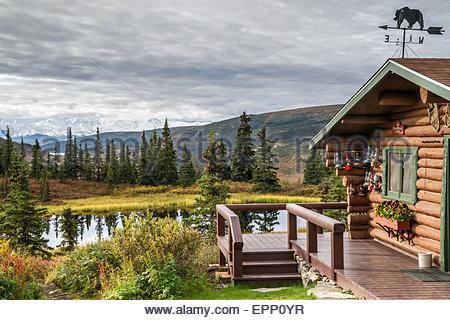 Cabin at Camp Denali in Denali national park - Alaska (USA) - Stock Image