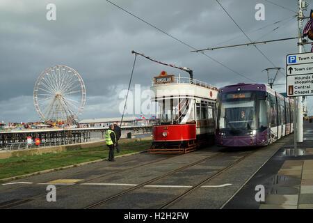 Blackpool 'Marton Box' Open Top Tramcar No.31 Reversing at Central Pier -1 - Stock Image