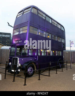 The Knight Bus, from, Harry Potter and the Prisoner of Azkaban, Warner Brothers Studio Tour, Leavesdon - Stock Image