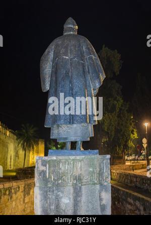 Cordoba, Spain - Dec 8th, 2018: Sculpture of Aben Hazan, famous writer of Al-Andalus at Puerta de Sevilla, Arab Cordoba, Spain - Stock Image