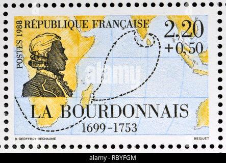 French postage stamp (1988): Navigators and Explorers series - Bertrand François Mahé Comte de La Bourdonnais (1699-1753) - Stock Image