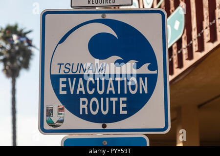 Tsunami Evacuation Sign, in Shelter Island, San Diego, California, USA - Stock Image