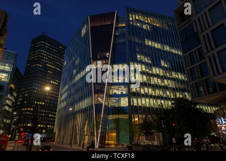 Nova, a modern high rise building by Morpheus London, in Belgravia, Victoria, Westminster London SW1, UK, at night - Stock Image