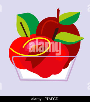 Bowl Red Apples Fruit.  Abstract drawings of Bowl Red Apples Fruit. - Stock Image