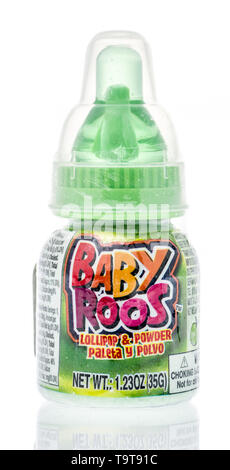 Winneconne, WI - 16 May 2019 : A package of Baby roos lollipop and powder dipping candy on an isolated background - Stock Image