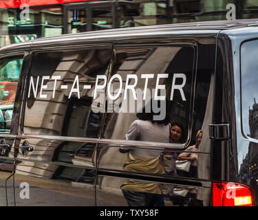 Net a Porter Fashion Delivery Van in Central London - Net-a-Porter is an Italian online fashion retailer created in 2015 - Stock Image