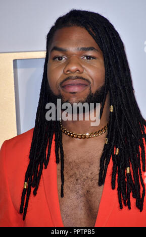 London, UK. 27th September 2018. MNEK attend A Star Is Born UK Premiere at Vue Cinemas, Leicester Square, London, UK 27 September 2018. Credit: Picture Capital/Alamy Live News - Stock Image