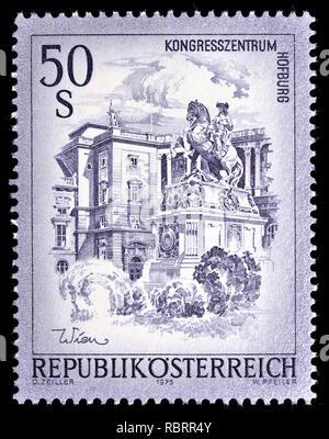 Austrian definitive postage stamp (1975) : Kongresszentrum Hofburg / Hofburg, Vienna - Stock Image