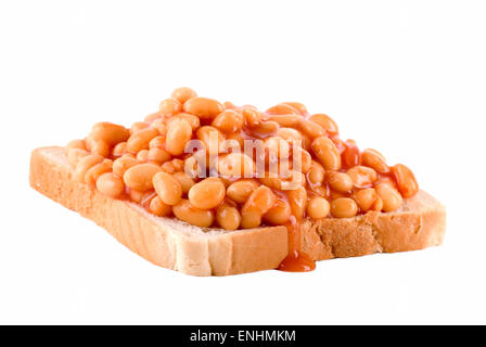 Baked beans on toast bread. - Stock Image