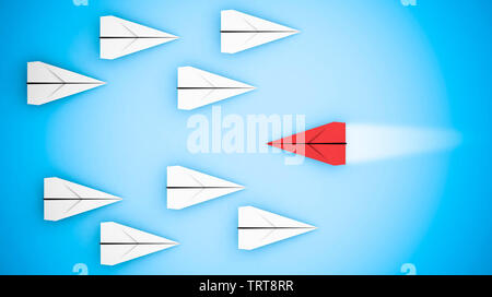 Differentiation concept with paper planes. 3D rendering - Stock Image