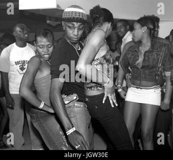 Local youths dance at Kingston's hottest Dancehall nightclub Club Quad. Located in New Kingston, Club Quad is - Stock Image